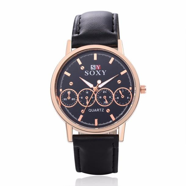 Stainless Steel Leather Band Analog Luxury Wrist Watch - wearevel