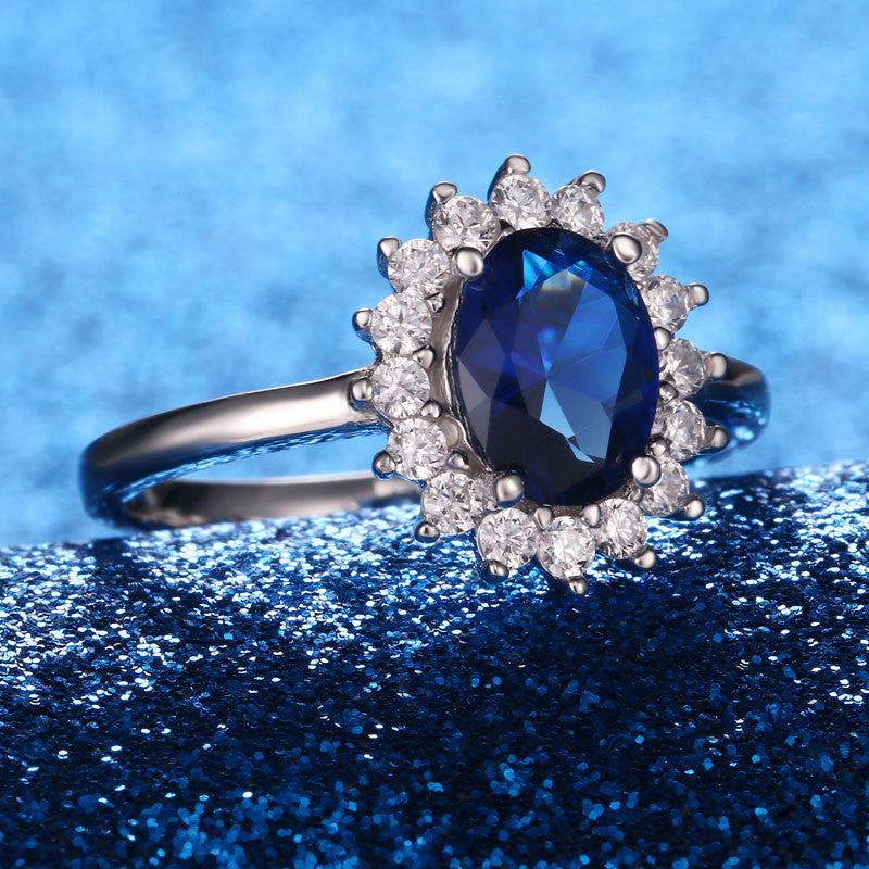 Blue Sapphire Princess Diana Rings Genuine Silver Engagement Rings - wearevel