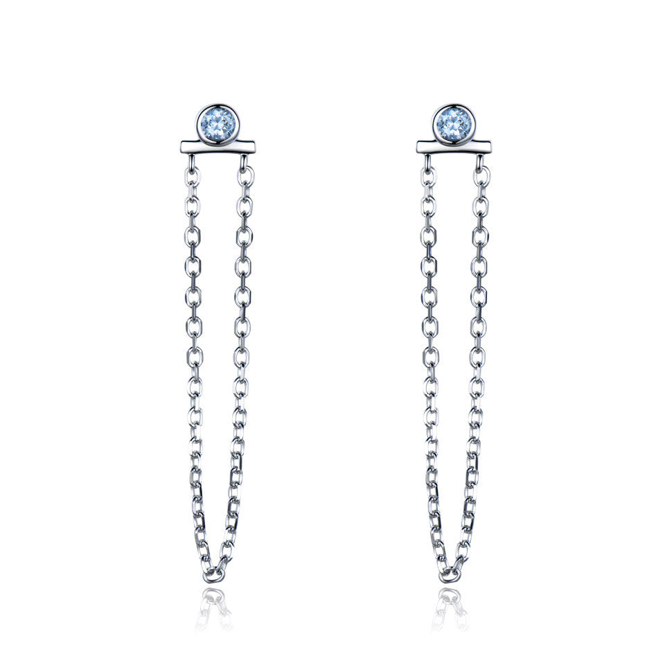 Natural sky blue topaz drop earrings - wearevel