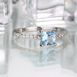 Sky Blue Topaz Ring Engagement Wedding Ring - wearevel