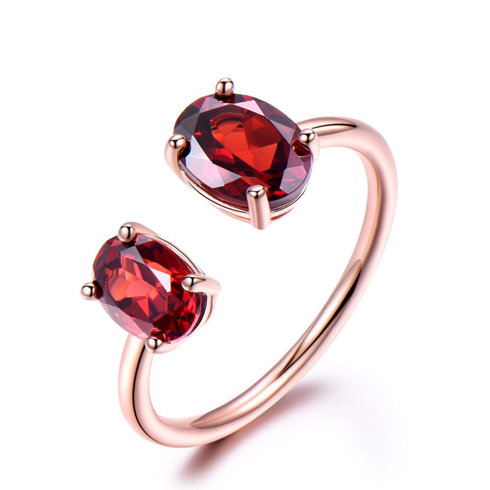Natural Garnet Ring Silver Ring - wearevel