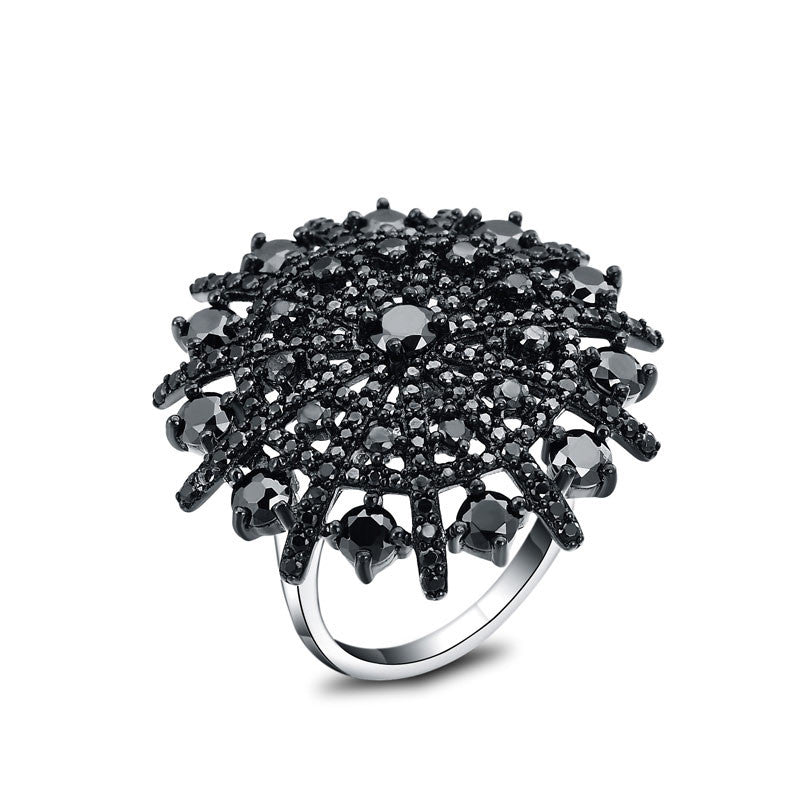 Black Spinel Ring Solid 925 Sterling Silver Female - wearevel