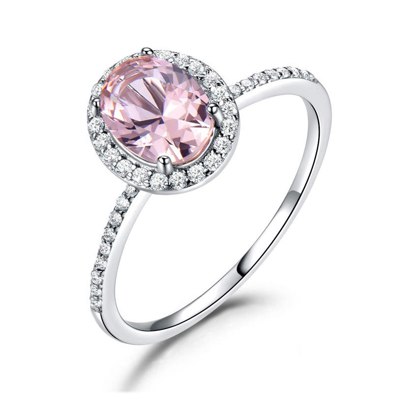 Silver Oval Classic Pink Created Sapphire Rings - wearevel