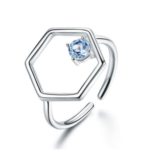 Natural Sky Blue Topaz Gemstone Real  Silver Rings - wearevel