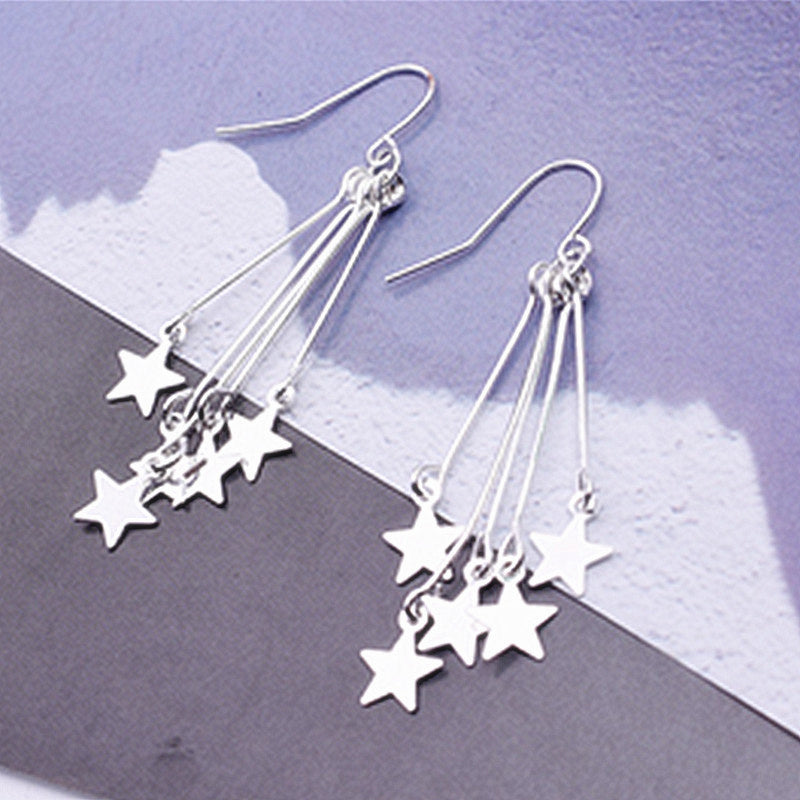 Silver Color Cute Star Tassel Drop Earrings - wearevel