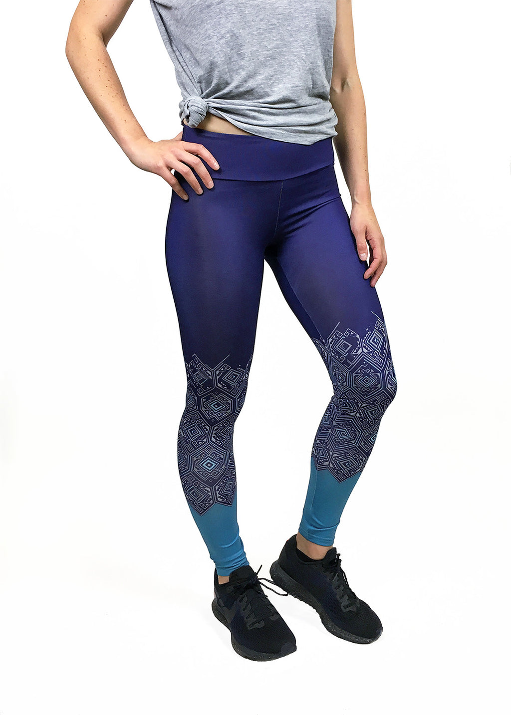 Blue Geometric Colorblock Legging - wearevel