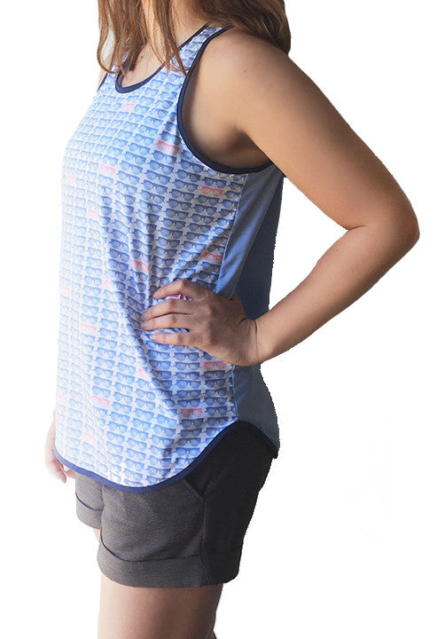 Light Blue Sunglass Printed Tank - wearevel