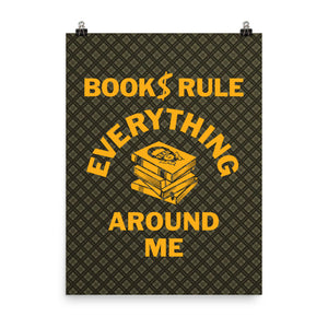 READ Movement - Books Rule - 18 inch x 24 inch Art Print Poster