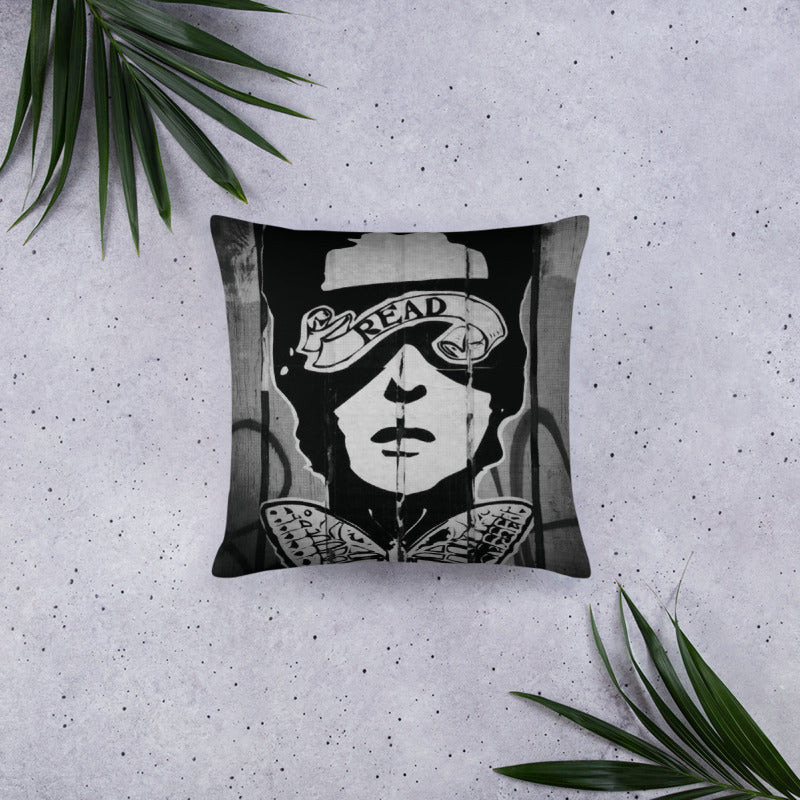 READ Movement - Black and White Wheatpaste - Digital Print Throw Pillow
