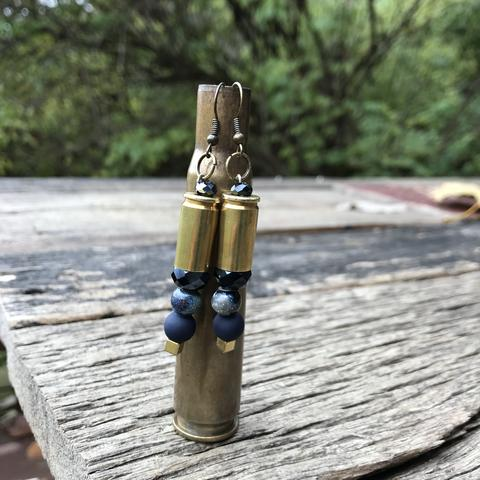 Custom Bullet Casing Earrings in Navy