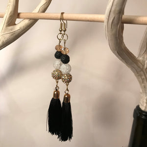 Black Tassel Drop Earrings with Various Stones