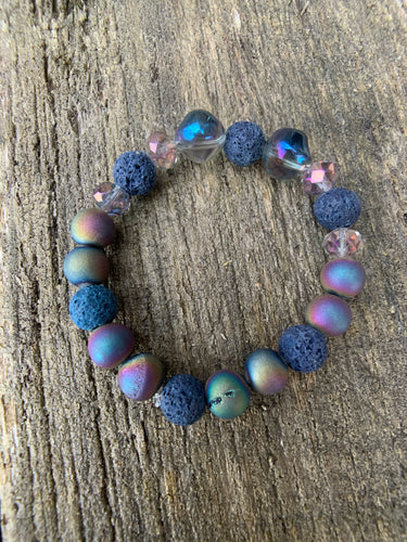 Multi Iris Agate Druzy Raw Lava & Glass Beaded Bracelet