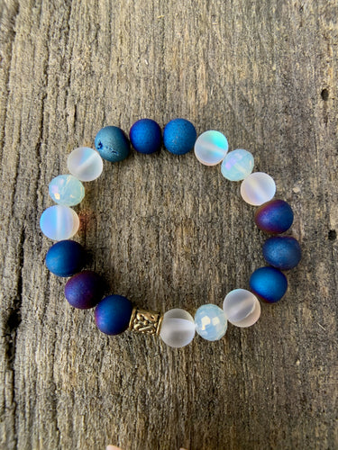 Blue Druzy Agate, Synthetic Opal & Glass Faceted Beaded Bracelet