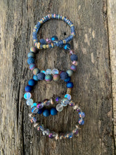 Load image into Gallery viewer, Blue Druzy Agate, Synthetic Opal & Glass Faceted Beaded Bracelet