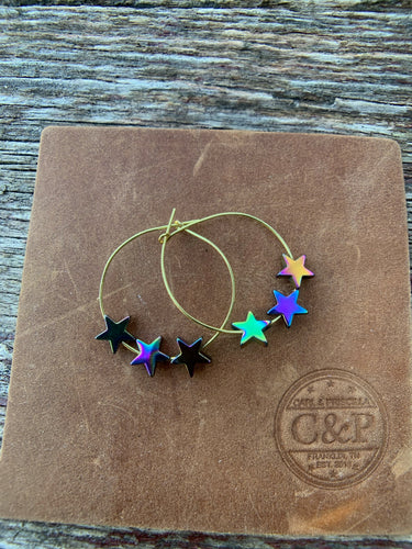 Tri-Star Hematite Gold Hoop Earrings