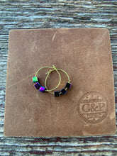 Load image into Gallery viewer, Geometric Hematite Gold Hoop Earrings