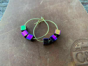 Geometric Hematite Gold Hoop Earrings