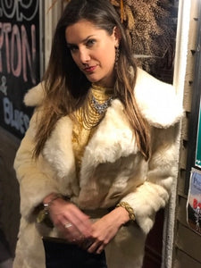 Vintage White Rabbit Fur Coat