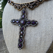 Load image into Gallery viewer, Antique Brass Collar Necklace with Cross Pendant