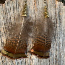 Load image into Gallery viewer, Tennessee Turkey Feather Earrings with Hammered Bronze Cap
