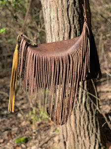 """Marci"" Fringe across-Body Leather Bag"