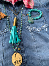 Load image into Gallery viewer, Bullet Casing & Leather Tassel Necklace