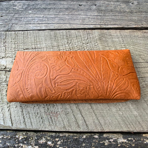 """The Priscilla"" Clutch in Tobacco Embossed Leather"