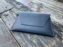"Load image into Gallery viewer, ""The Carl"" in Midnight Black Oil Tanned Leather with Red Stitching"