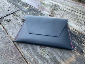 """The Carl"" in Midnight Black Oil Tanned Leather with Red Stitching"