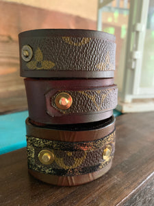 """Daisy"" Repurposed LV Leather Cuff"