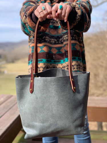 Big Mama Tote in Distressed Denim Hued Leather