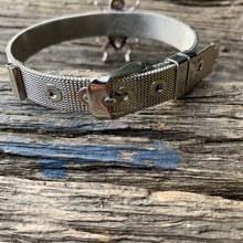 "Load image into Gallery viewer, ""Buckled Bee"" Silver Bracelet"