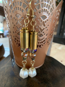 Custom Bullet Bead & Pearl Drop Earrins