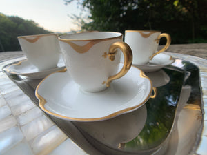 "Antique Haviland China Co. ""Silver Anniversary"" Pattern Espresso Cups & Saucers"