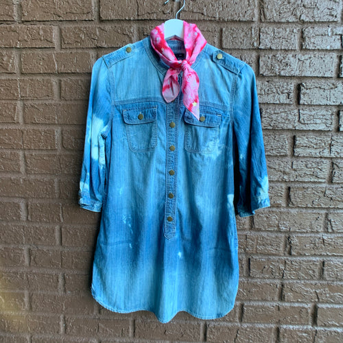 Vintage Gap Distressed Denim Shirt Dress