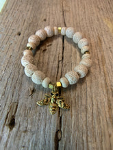 Load image into Gallery viewer, Rough Agate White Beaded Bracelet with Gold Bee Charm