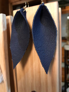 Navy Blue Leather Earrings