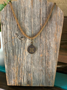 """Paulette"" Vintage Necklace with Repurposed LV Canvas"