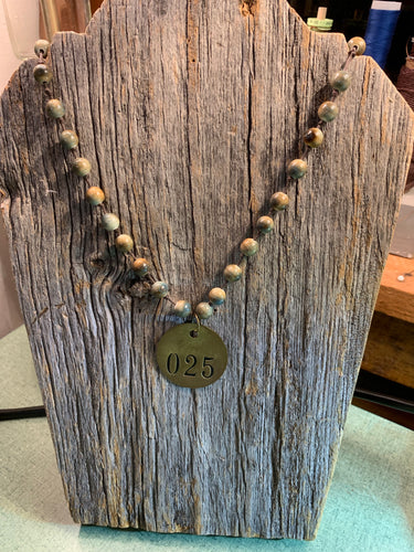 Hand Strung Agate Beaded Necklace with Vintage Brass Tag