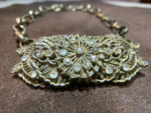 Antique Brass Linked Chain with Vintage Crystal Broach