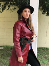 Load image into Gallery viewer, Vintage Red Leather Coat