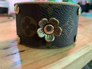 """Flower Power"" Vintage LV Leather Cuff"