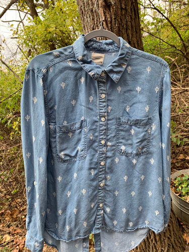 Cactus Print Denim Shirt