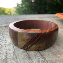 Load image into Gallery viewer, Private Collection Vintage Wood Bangle with Brass Details