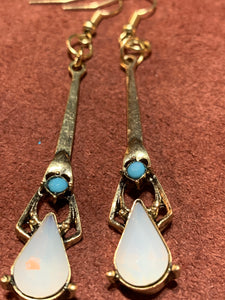 Turquoise & Opal Art Deco Drop Earrings