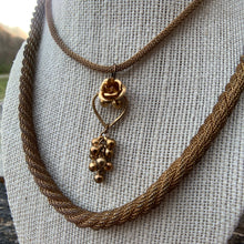 Load image into Gallery viewer, Vintage Gold Necklace with Rosebud Pendant