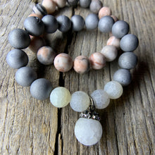 Load image into Gallery viewer, Silver Iris Agate Druzy & White Crackle Agate Beaded Bracelet with Large Agate Druzy Charm