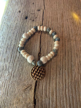 Load image into Gallery viewer, Beaded Bracelet with Antique Bronze Charm
