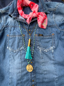 Bullet Casing & Leather Tassel Necklace