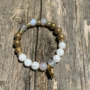 Marine Chalcedony, Matte Crackle Agate & Gold Druzy Agate Beaded Bracelet with Starfish Charm